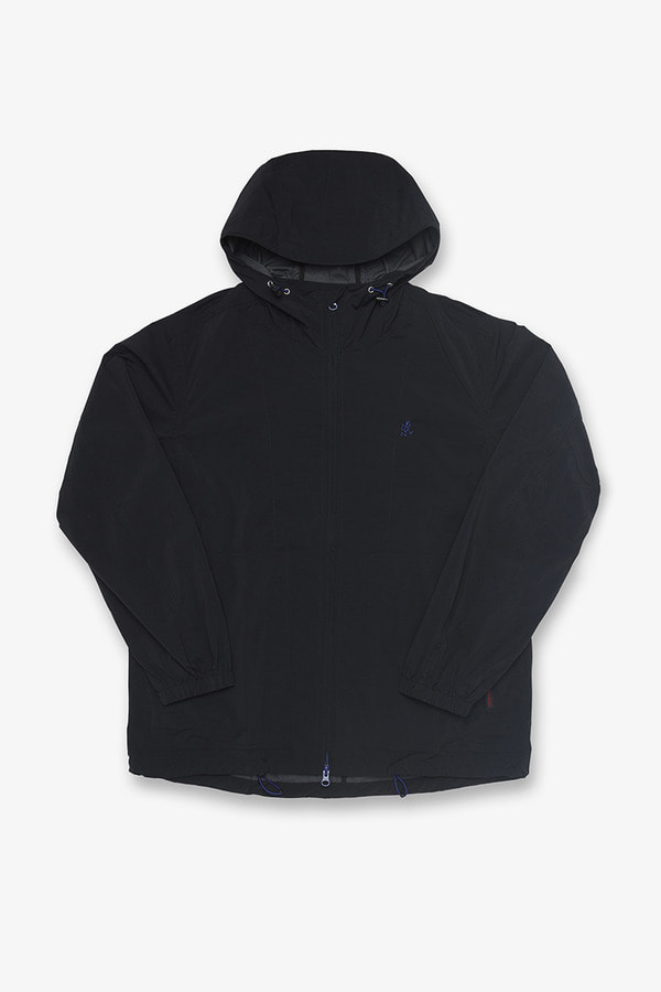 NYLON TASLAN PACKABLE HOODED JACKET BLACK