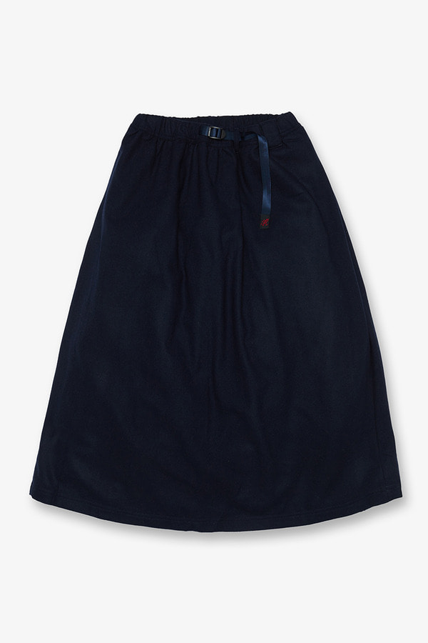 WOOL BLEND LONG FLARE SKIRT DOUBLE NAVY