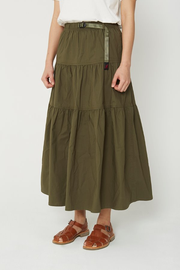 WEATHER TIERED SKIRT OLIVE