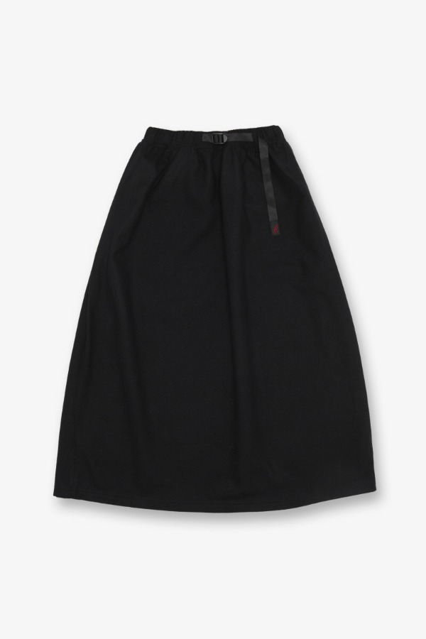 WOOL BLEND LONG FLARE SKIRT BLACK
