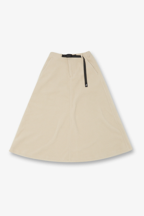 BOA FLEECE LONG FLARE SKIRT IVORY