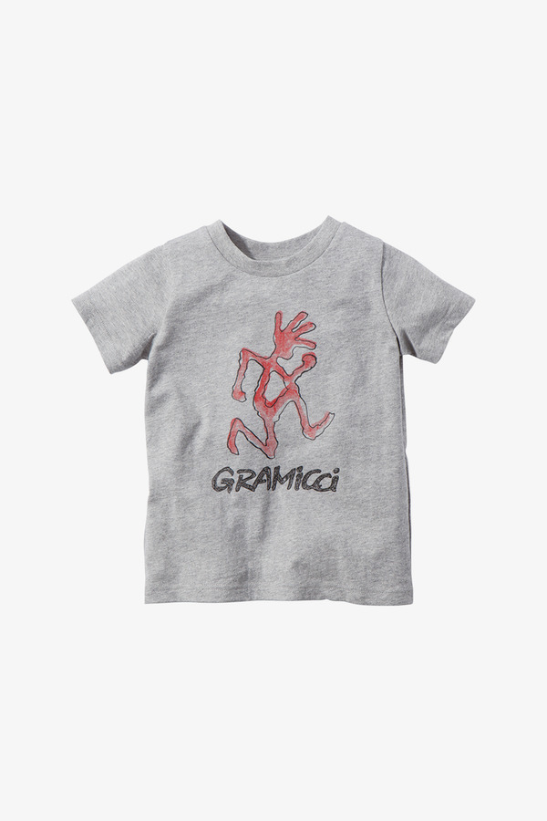 KIDS RUNNING MAN TEE HEATHER GREY