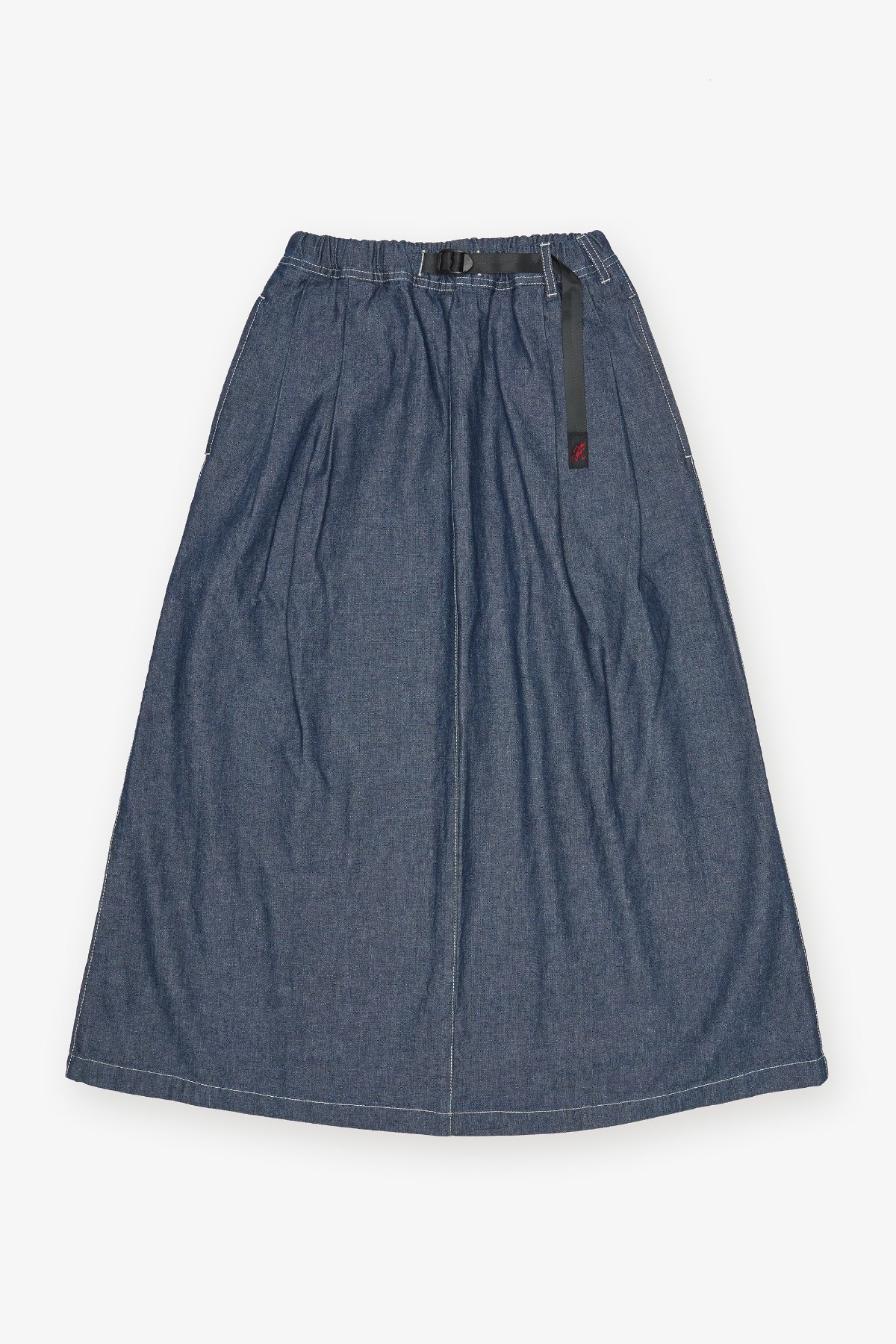 LIGHT DENIM LONG FLARE SKIRT ONE WASH