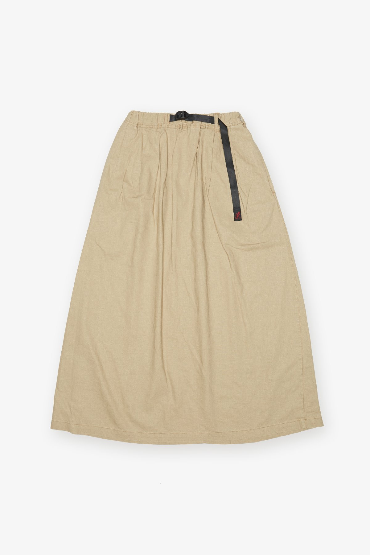 LINEN COTTON LONG FLARE SKIRT BEIGE