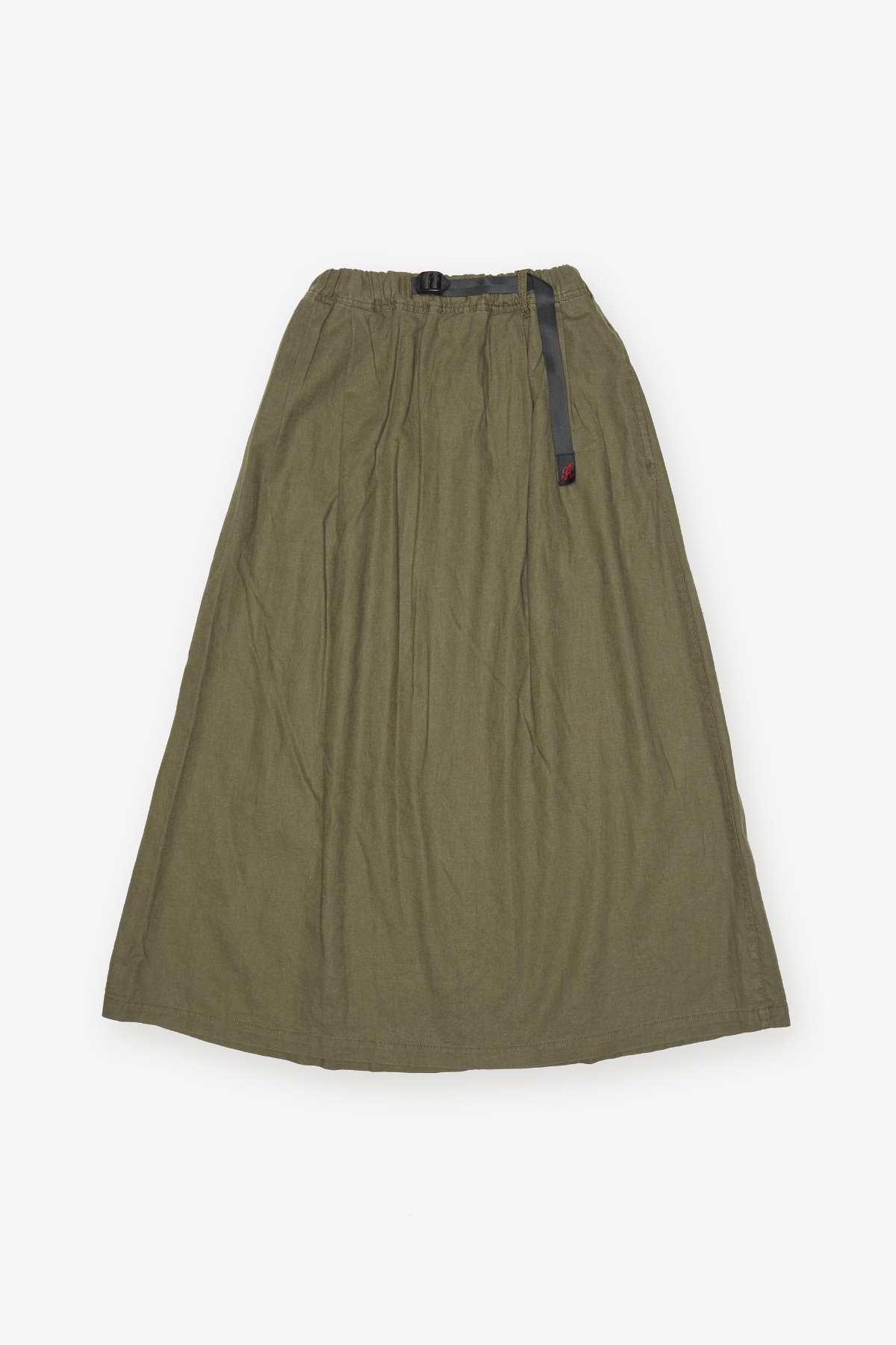 LINEN COTTON LONG FLARE SKIRT OLIVE