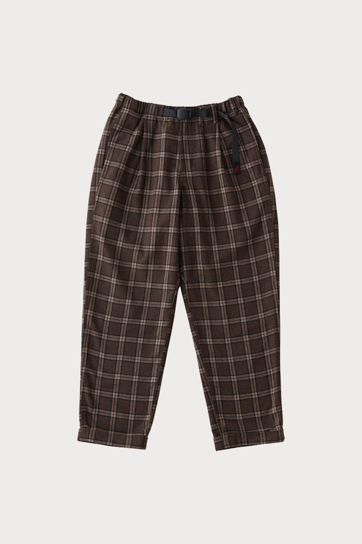 WOOL BLEND TUCK TAPERED PANTS BROWN CHECK