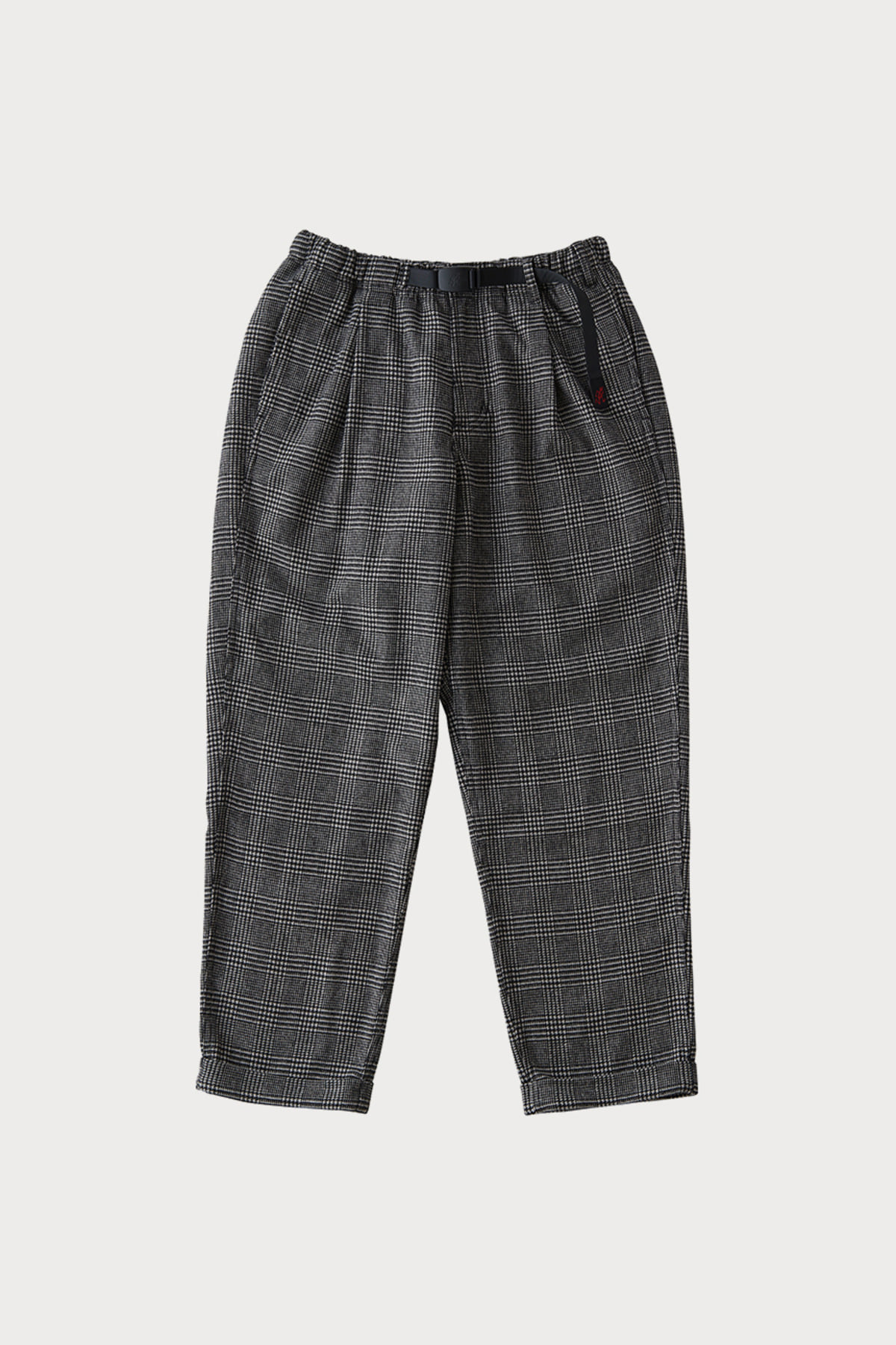 WOOL BLEND TUCK TAPERED PANTS HOUNDSTOOTH PATTERN