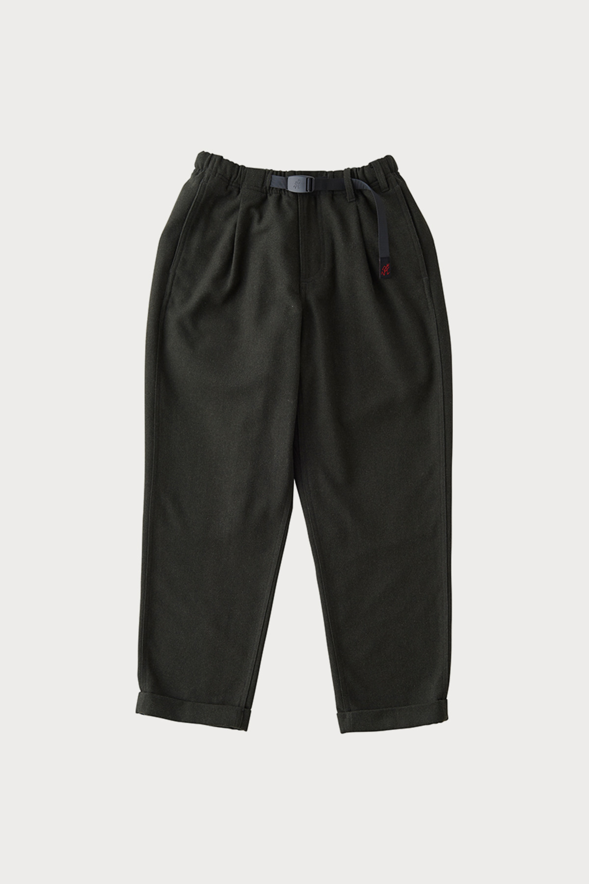 WOOL BLEND TUCK TAPERED PANTS DEEP OLIVE