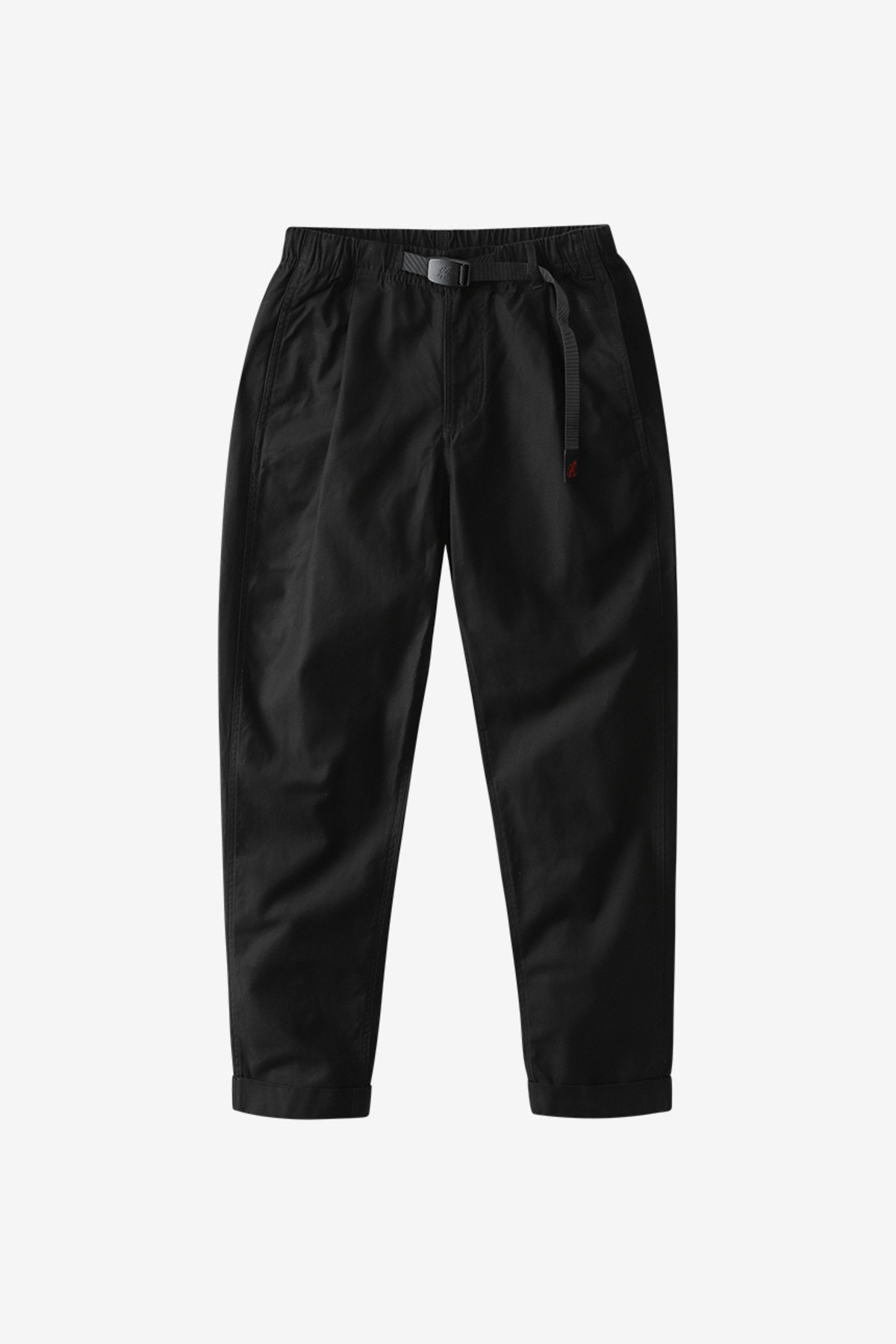BACK SATIN TUCK TAPERED PANTS BLACK