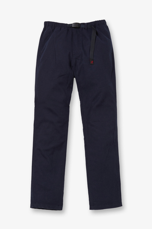 WOOL NARROW PANTS DOUBLE NAVY