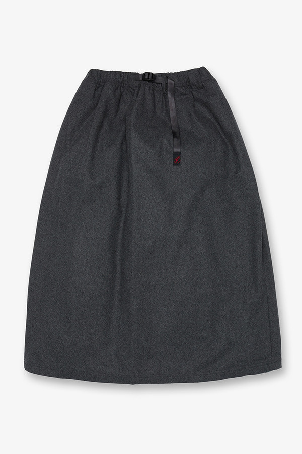 WOOL BLEND LONG FLARE SKIRT HEATHER CHARCOAL