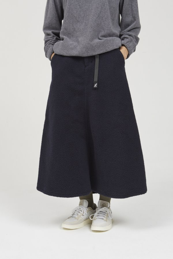 BOA FLEECE LONG FLARE SKIRT NAVY