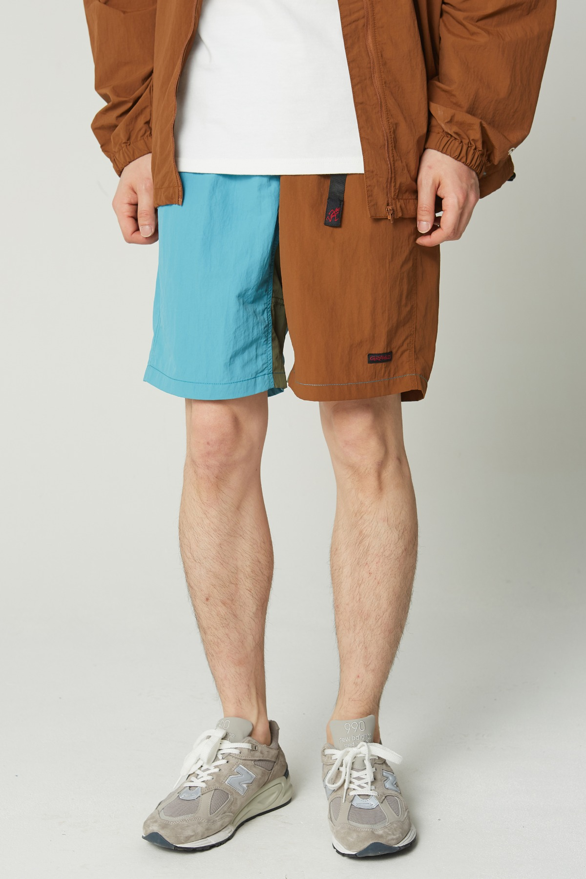 SHELL PACKABLE SHORTS AQUA x MOCHA