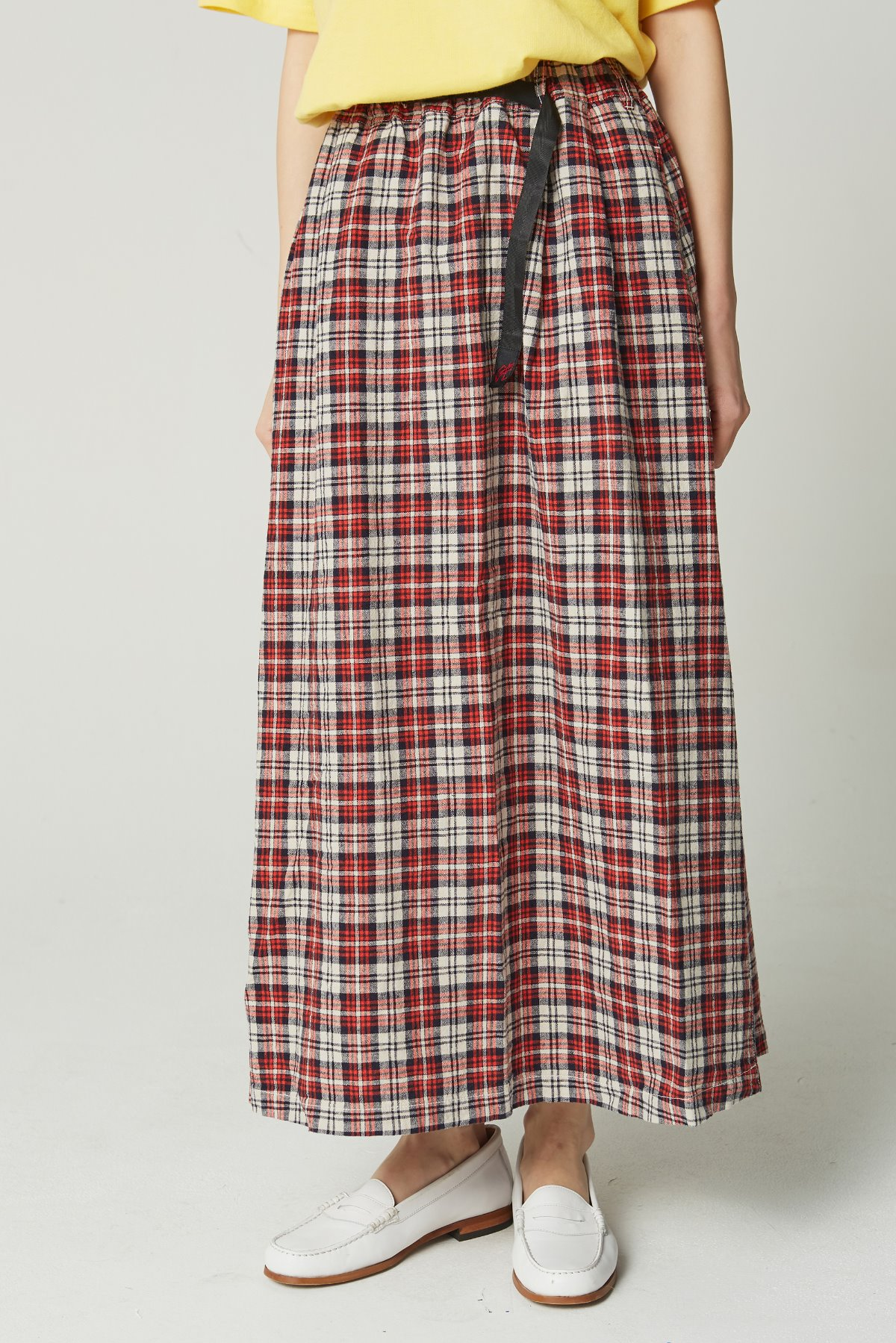 LINEN COTTON LONG FLARE SKIRT MADRAS