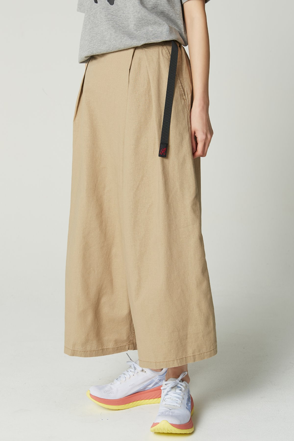 LINEN COTTON WRAP FLARE PANTS BEIGE