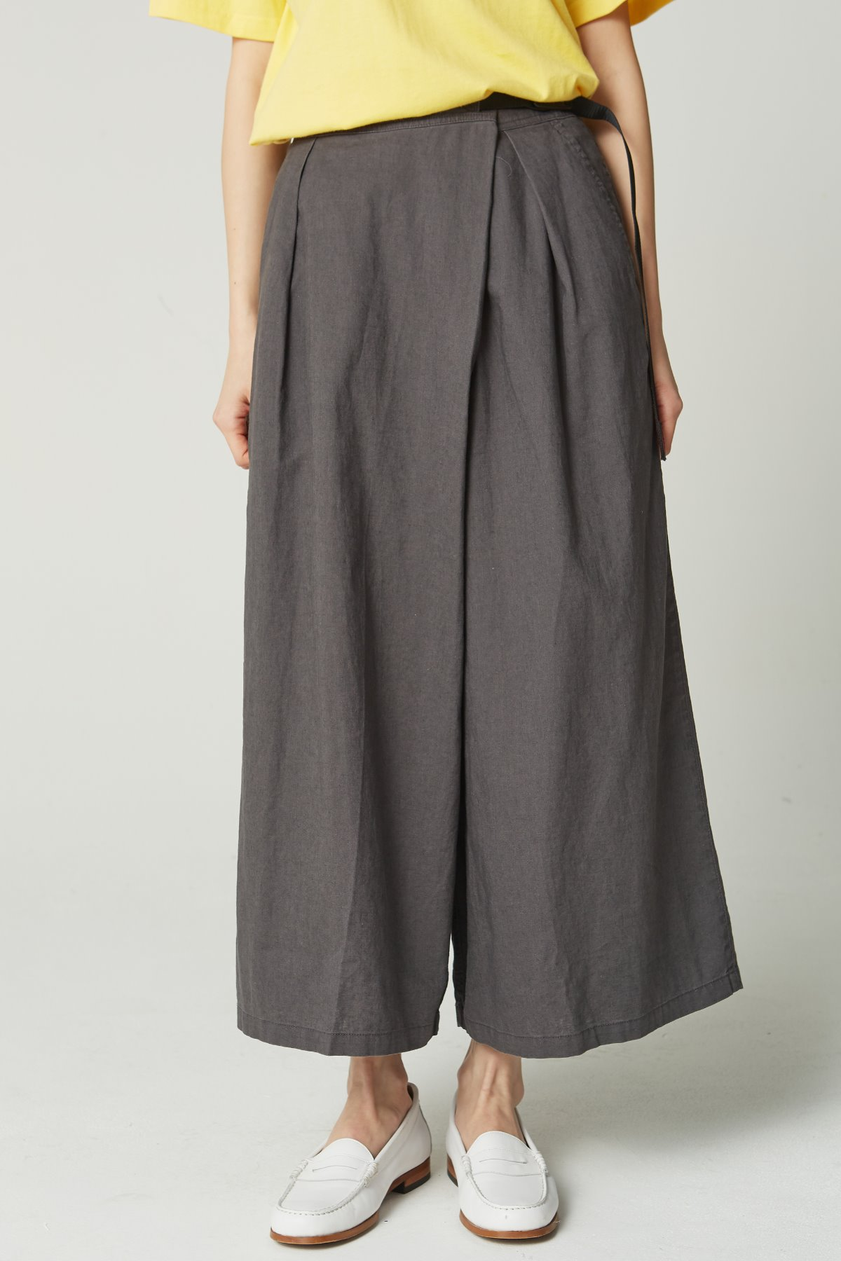 LINEN COTTON WRAP FLARE PANTS CHARCOAL