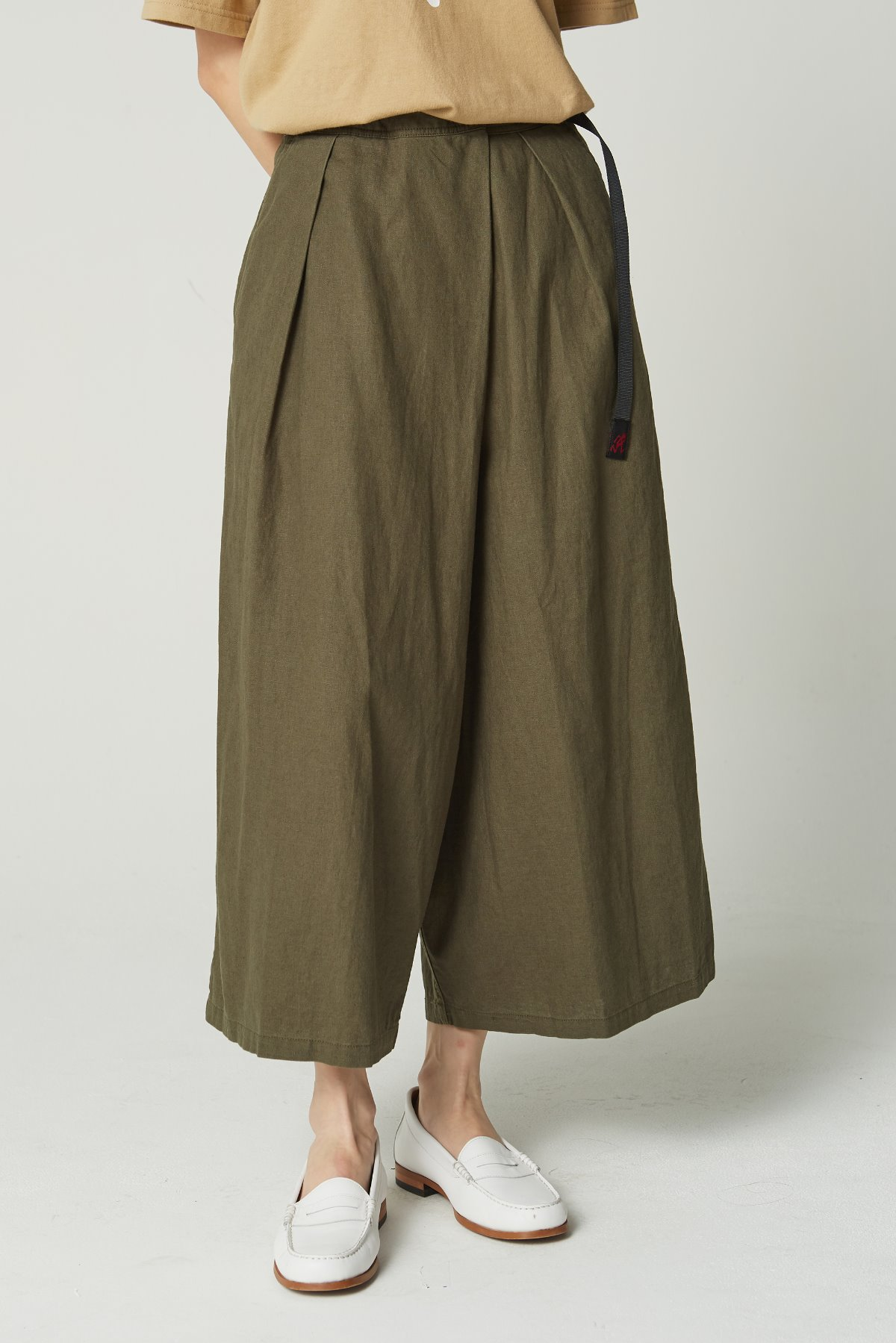 LINEN COTTON WRAP FLARE PANTS OLIVE