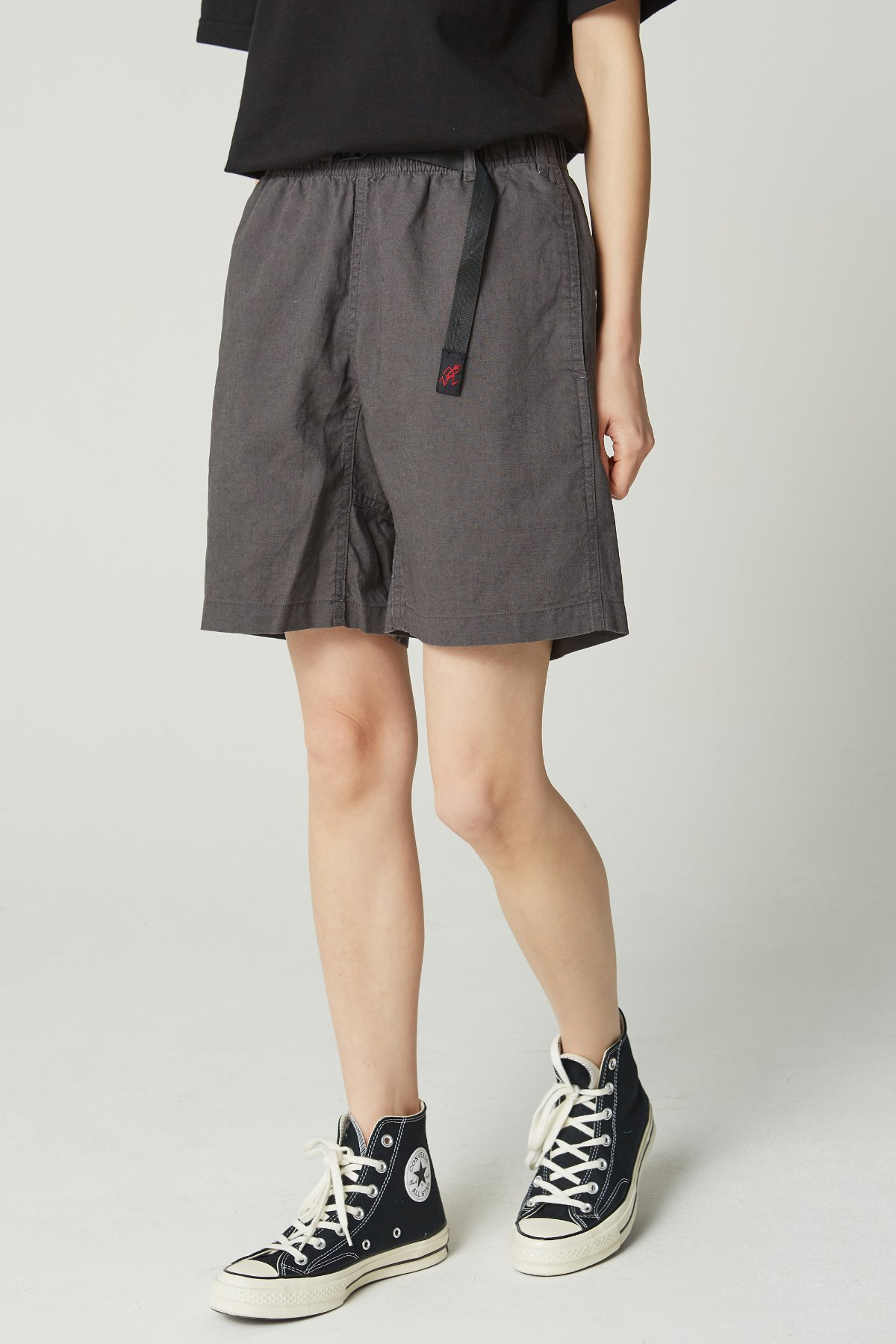 LINEN COTTON WS G-SHORTS CHARCOAL