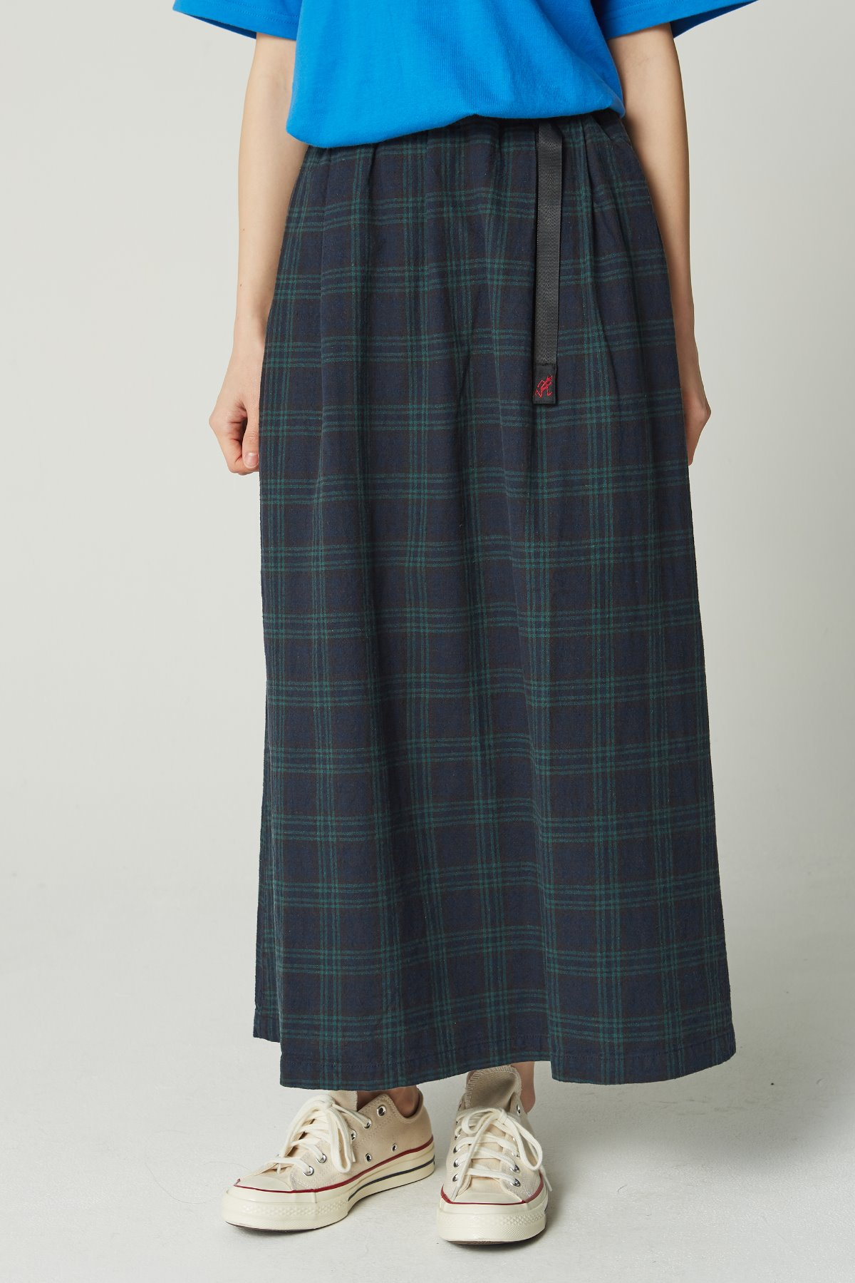 LINEN COTTON LONG FLARE SKIRT BLACK WATCH