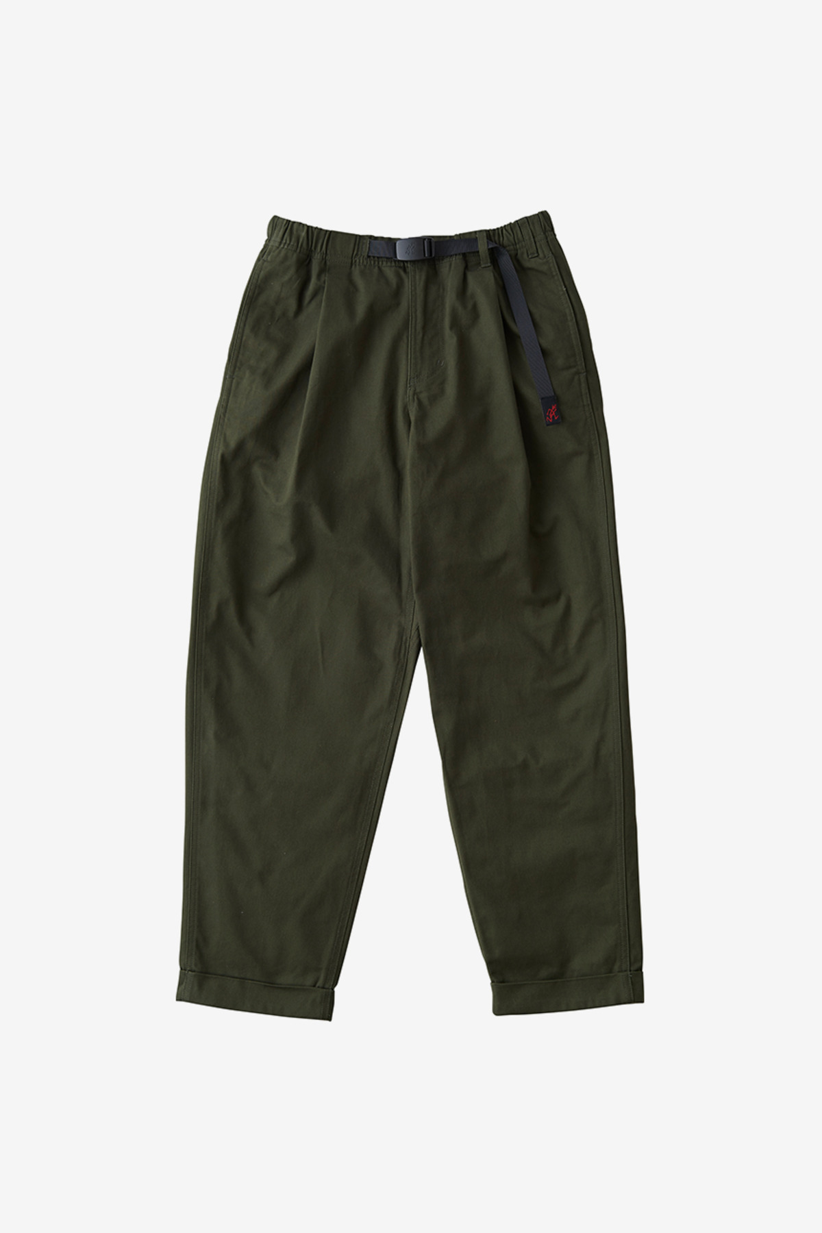 BACK SATIN TUCK TAPERED PANTS DEEP OLIVE
