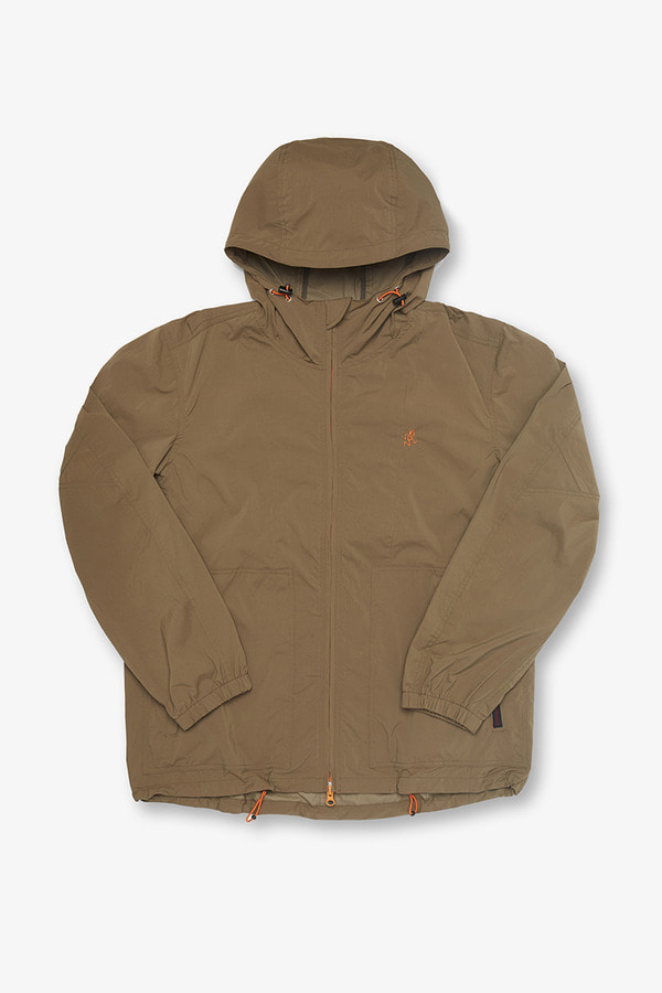 NYLON TASLAN PACKABLE HOODED JACKET KHAKI