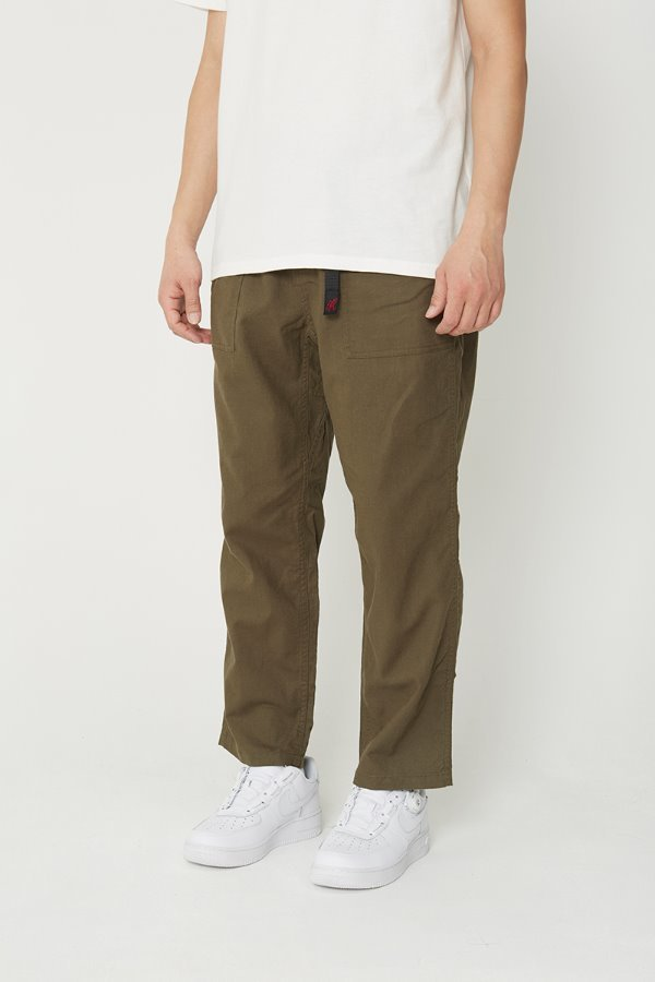 LINEN COTTON LOOSE TAPERED PANTS OLIVE