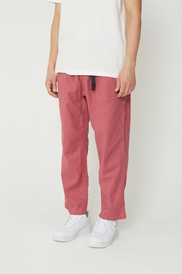 LINEN COTTON LOOSE TAPERED PANTS PLUM