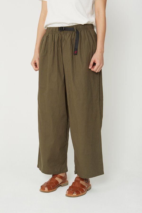 LINEN COTTON BALLOON PANTS OLIVE